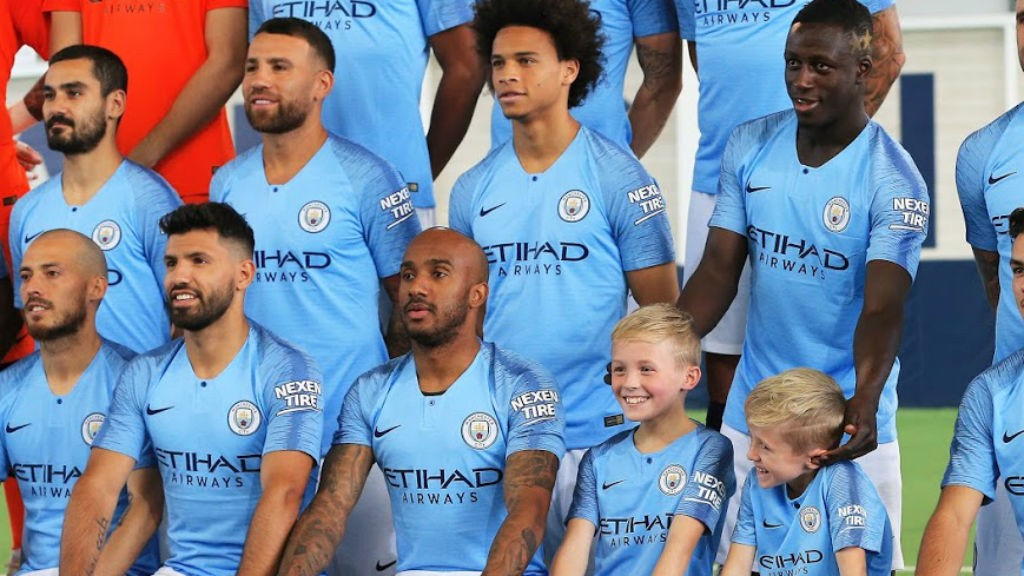 Benjamin Mendy jokes with two of the brave children