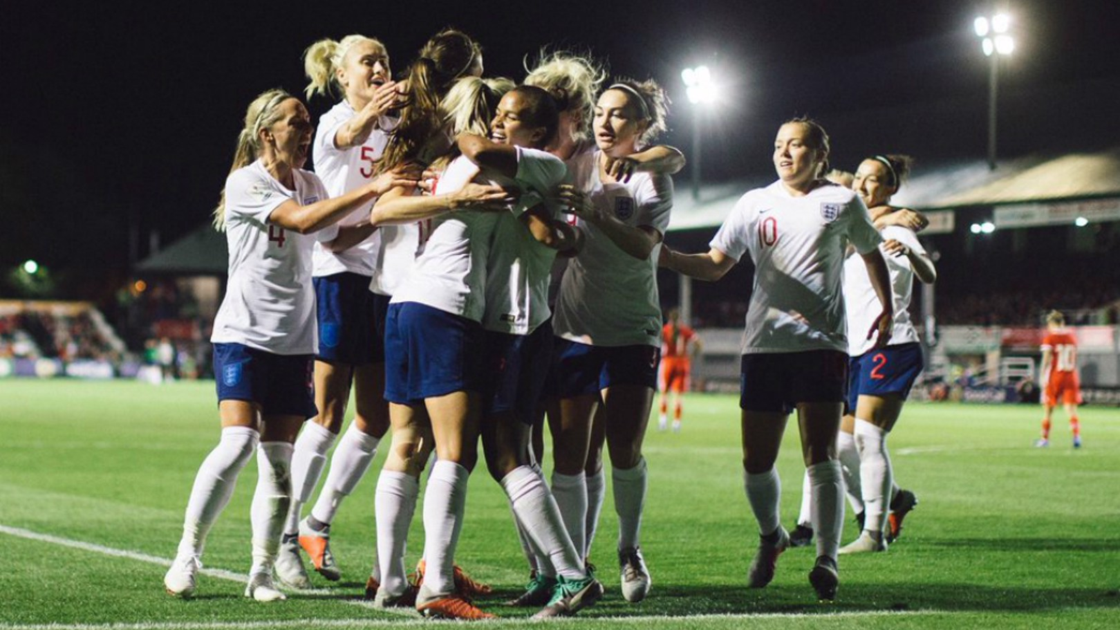 ELATION: England celebrate qualification for the 2019 World Cup in France