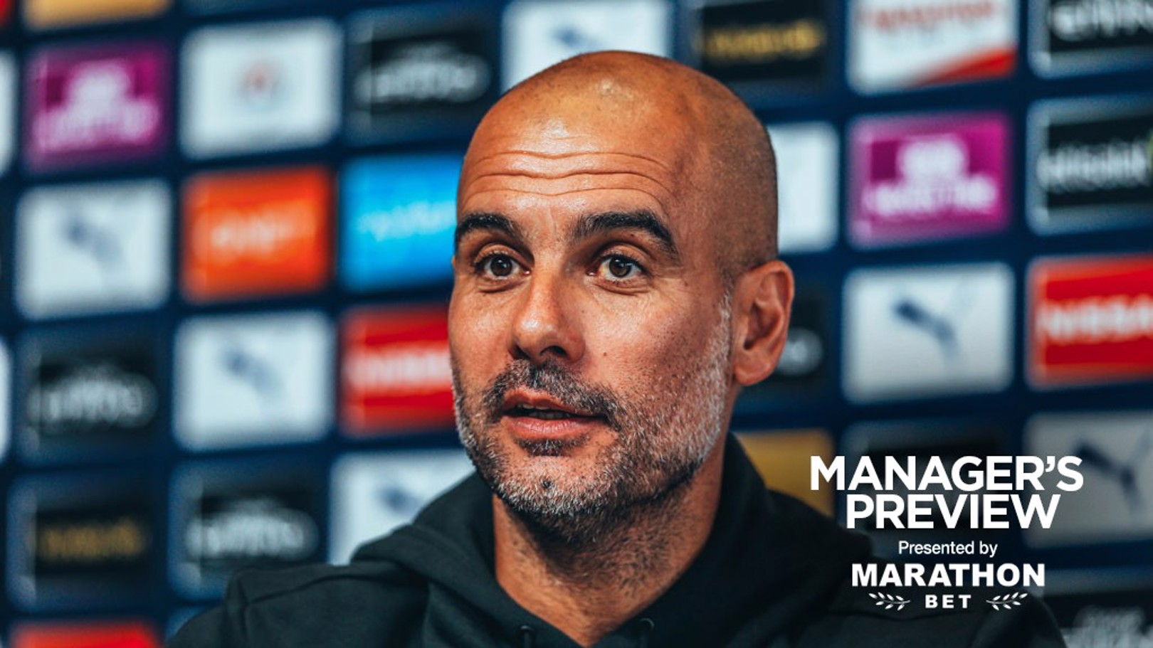 THE BOSS: Pep Guardiola at his Crystal Palace pre-match press conference.