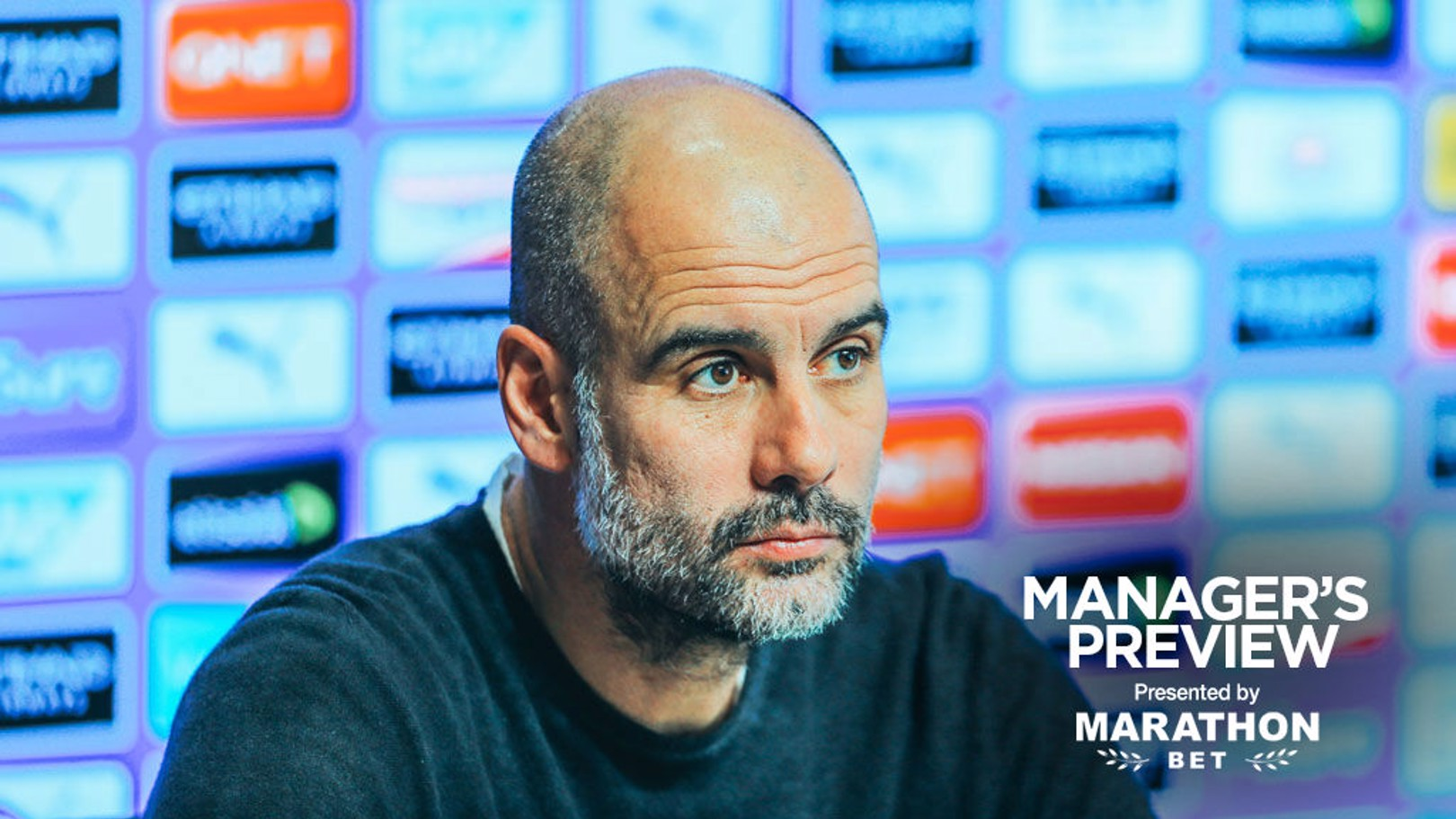 Pep Guardiola na coletiva de imprensa do Dérbi.