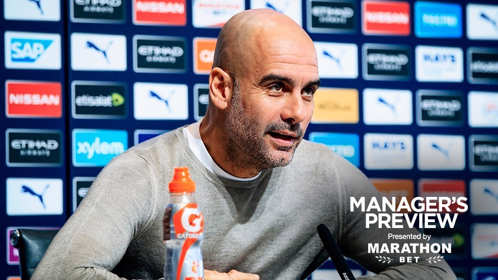 PEP TALK: Guardiola has faced the press ahead of the visit of Palace