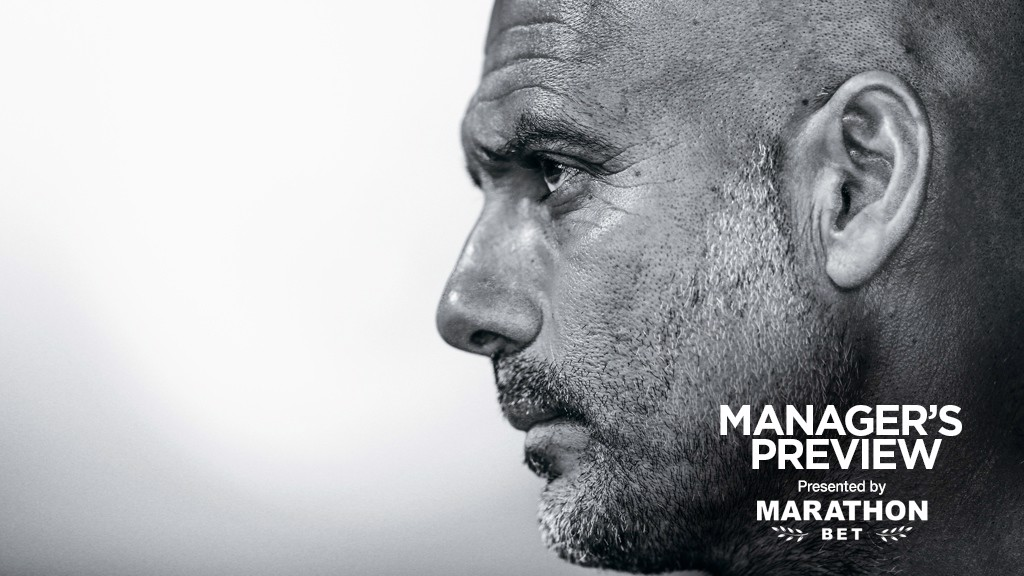 IN THOUGHT: Pep Guardiola ahead of Saturday's game against Watford.