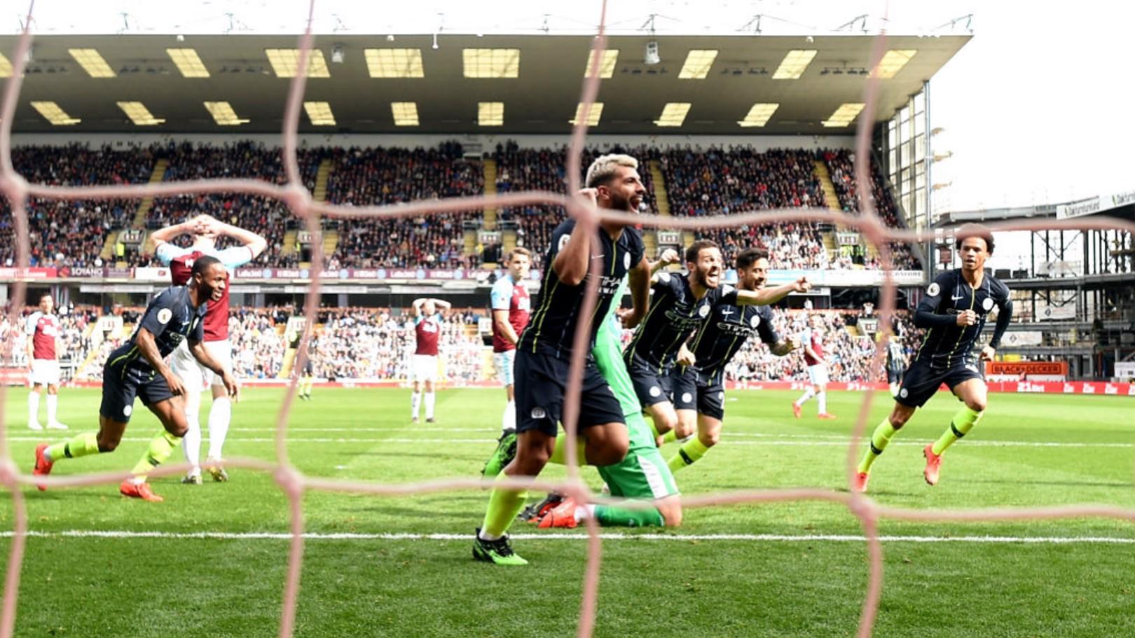 MILESTONE: Sergio Aguero celebrates his 20th Premier League goal of the season.