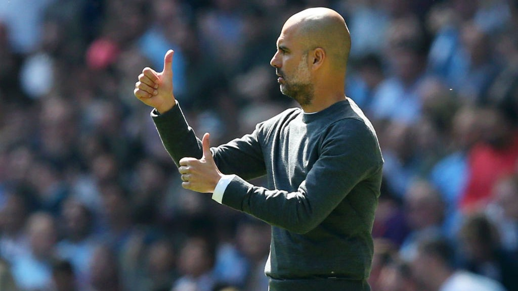 THUMBS UP: Pep was delighted with the atmosphere created by the City fans in the win over Spurs
