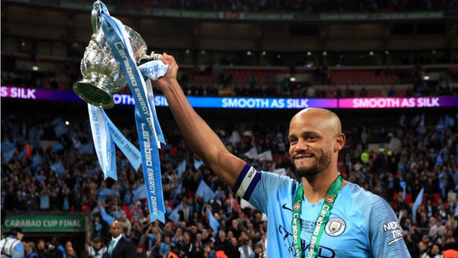 CARABAO KING: Kompany lifted the Carabao Cup for the fourth time after our dramatic win on penalties over Chelsea earlier this year