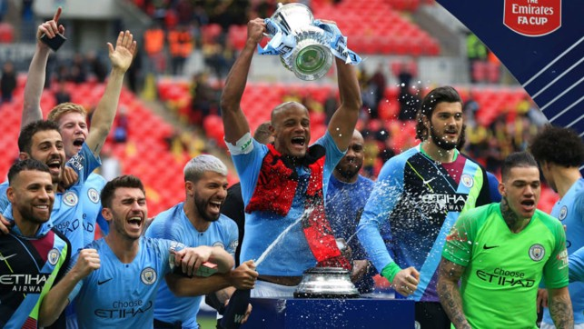 HISTORY MEN: Vinny and the City squad celebrate City's 2019 FA Cup triumph after our 6-0 win over Watford
