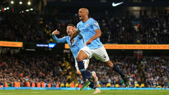 WONDER STRIKE: Vinny races away in triumph after his stunning and crucial league winner against Leicester City