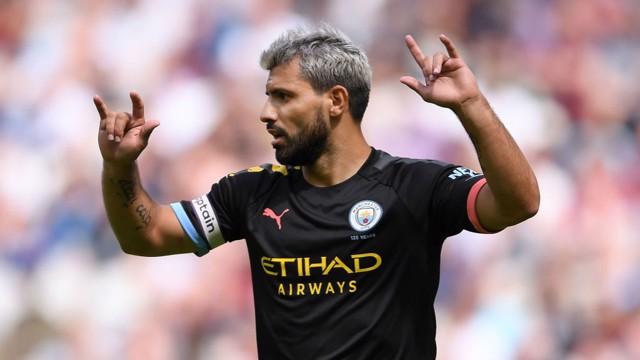 FROM THE SPOT: Sergio Aguero celebrates against West Ham.