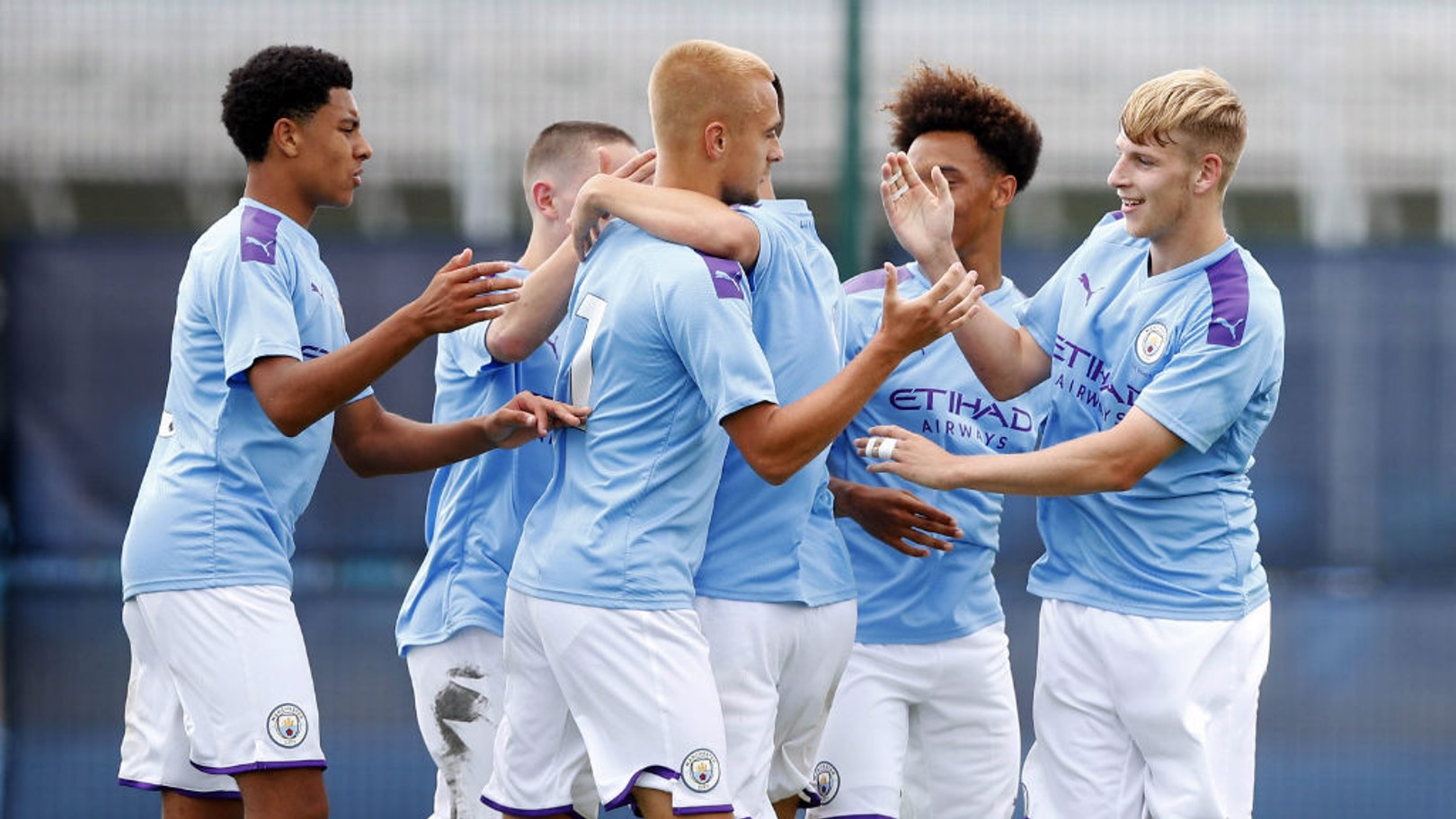 SEVEN UP: The City players celebrate during Saturday's 7-1 victory over Newcastle United