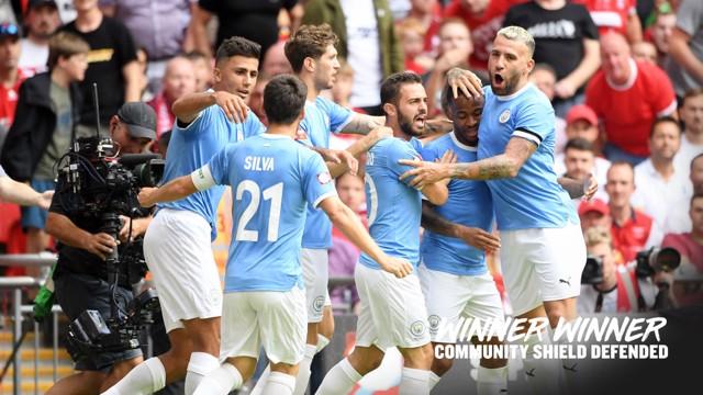 GOAL: Raheem Sterling puts City ahead at Wembley.