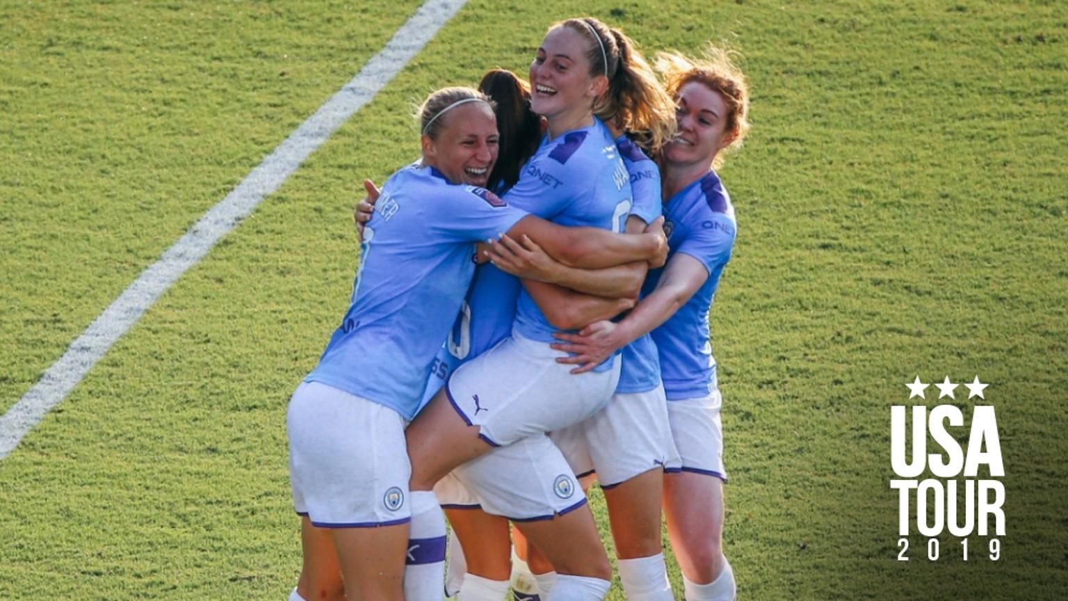WULLAERT WINNER: City celebrate, as Tessa Wullaert nets in injury time