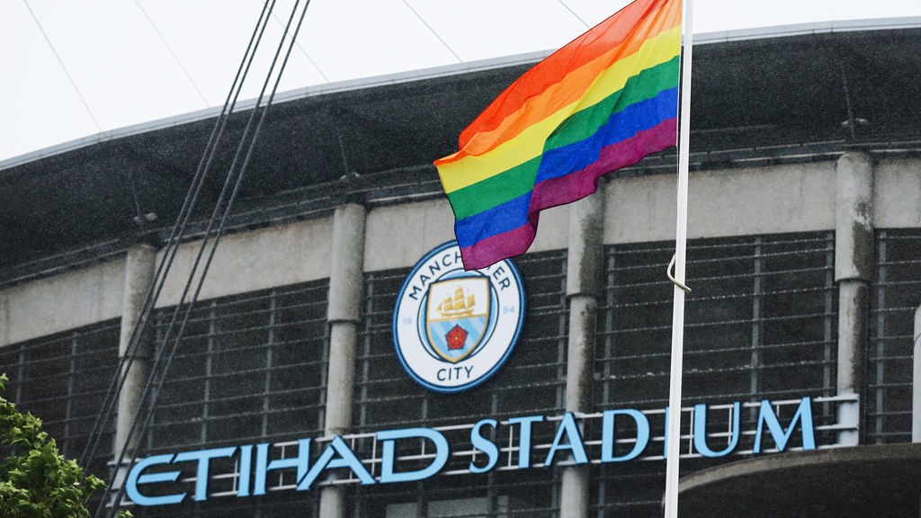 FLYING THE FLAG: The Pride flag is on display outside the Etihad Stadium