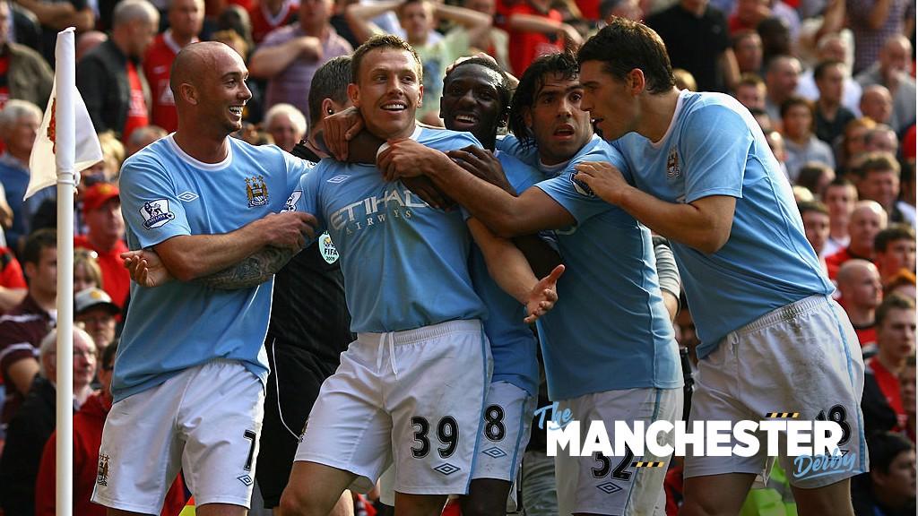 DERBY DAYS: Craig Bellamy celebrates against Manchester United.