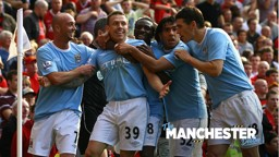DERBY DAYS: Craig Bellamy celebrates against Manchester United.