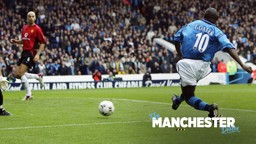 FEED THE GOAT: Shaun Goater enjoyed a day to remember in the last Maine Road Derby...