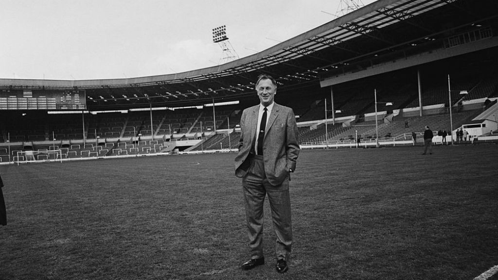 WEMBLEY WONDER: Joe takes in the surrounds at Wembley prior to the 1969 FA Cup final