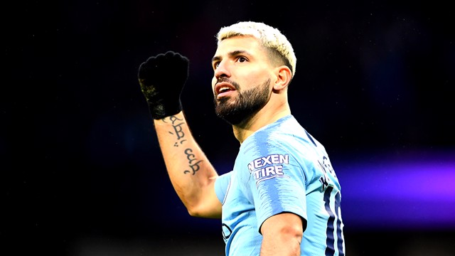 HATTRICK: Sergio Aguero scored his 14th City treble in the 3-1 win over Arsenal on Sunday