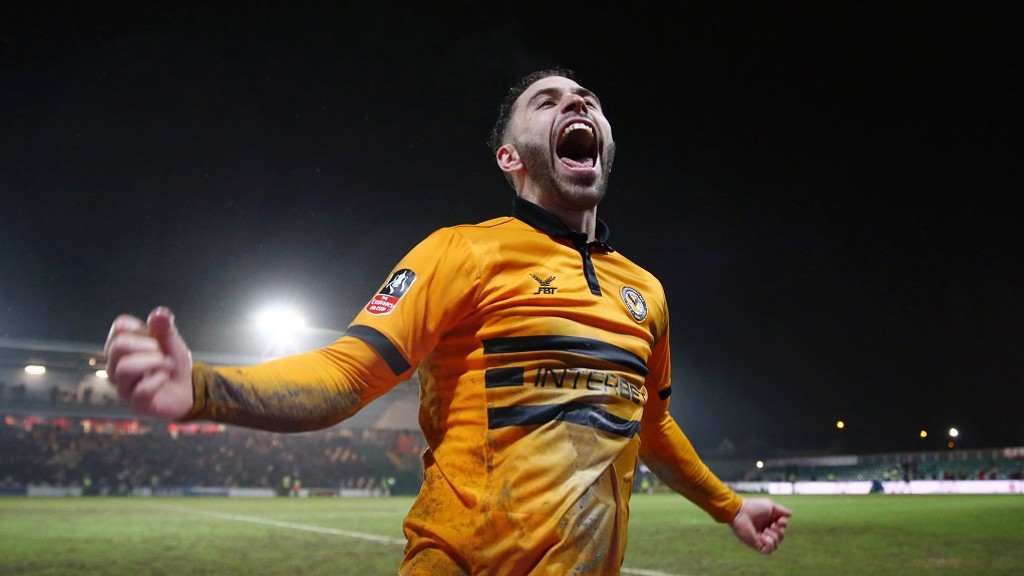 Robbie Wilmott celebrates scoring against Middlesbrough