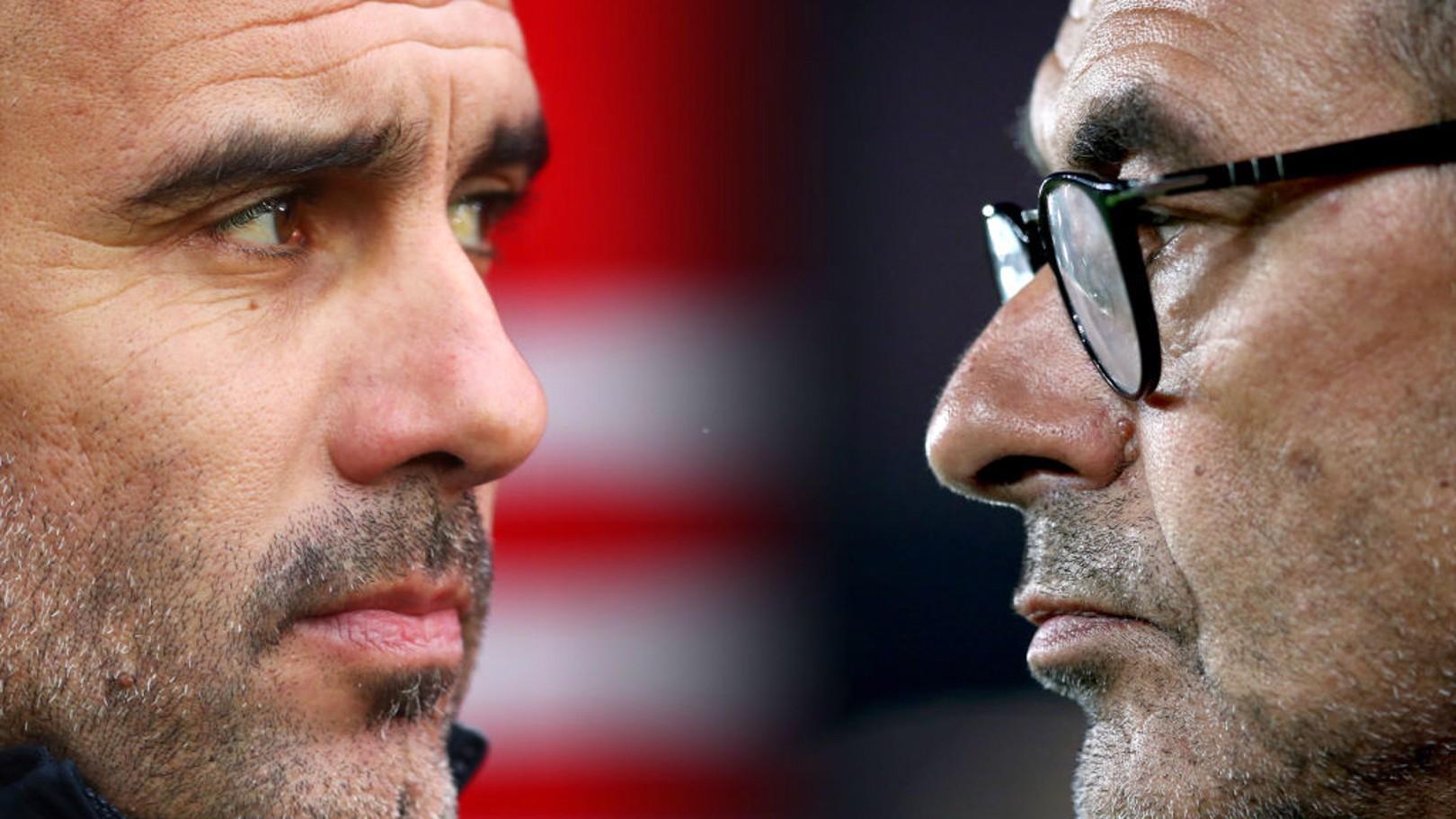 HEAD TO HEAD: Pep Guardiola and Maurizio Sarri lock horns on Sunday...