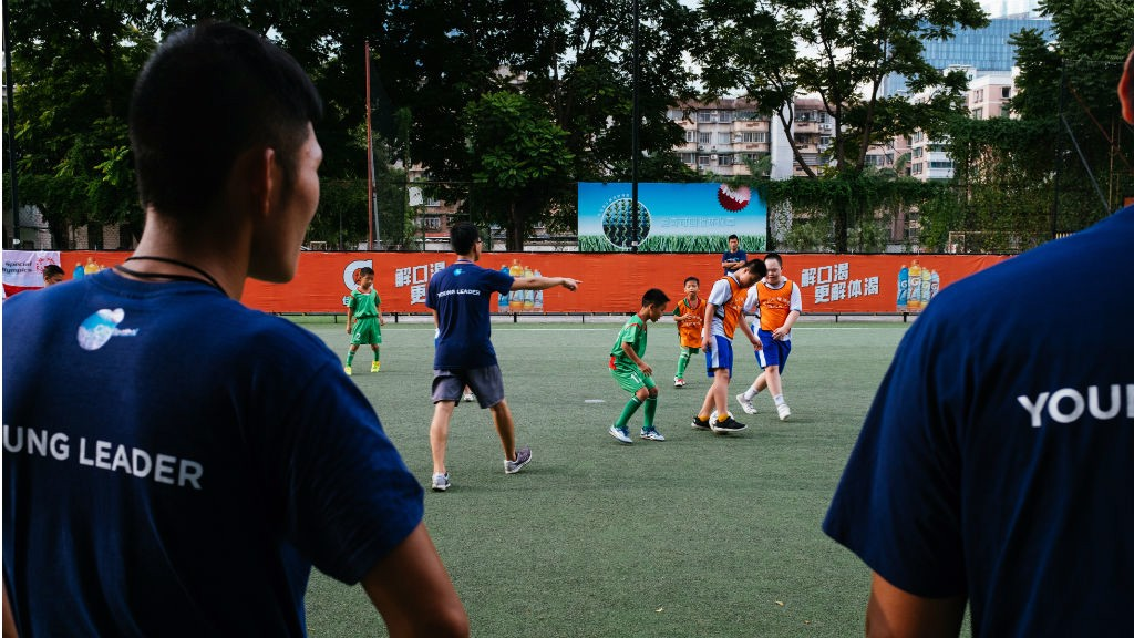 HELPING HAND: Young leaders hard at work in Guangzhou, China