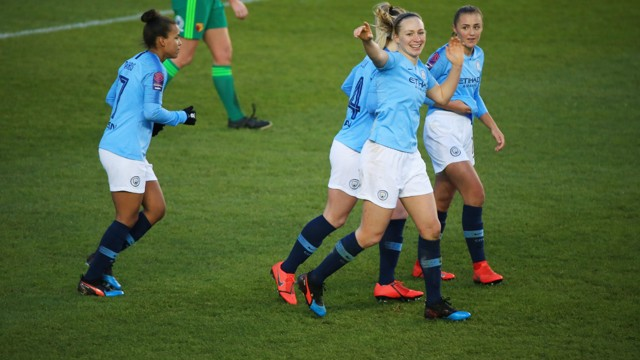 CITY SMILES: Pauline Bremer celebrates City's third!