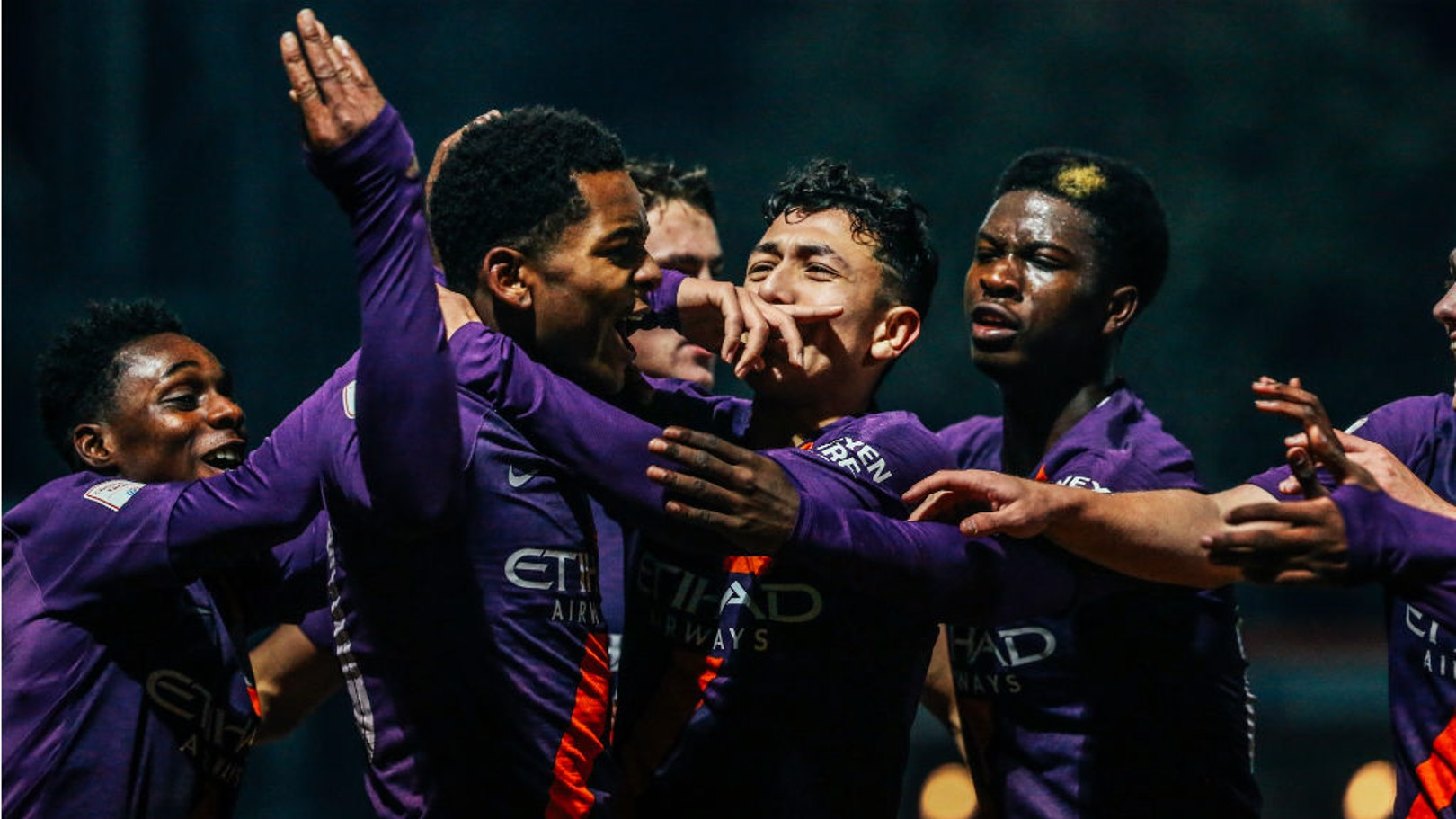 ALL SMILES: City's Under-21 players celebrate after Jayden Braaf's second goal during our 4-2 Checkatrade Trophy win at Rochdale