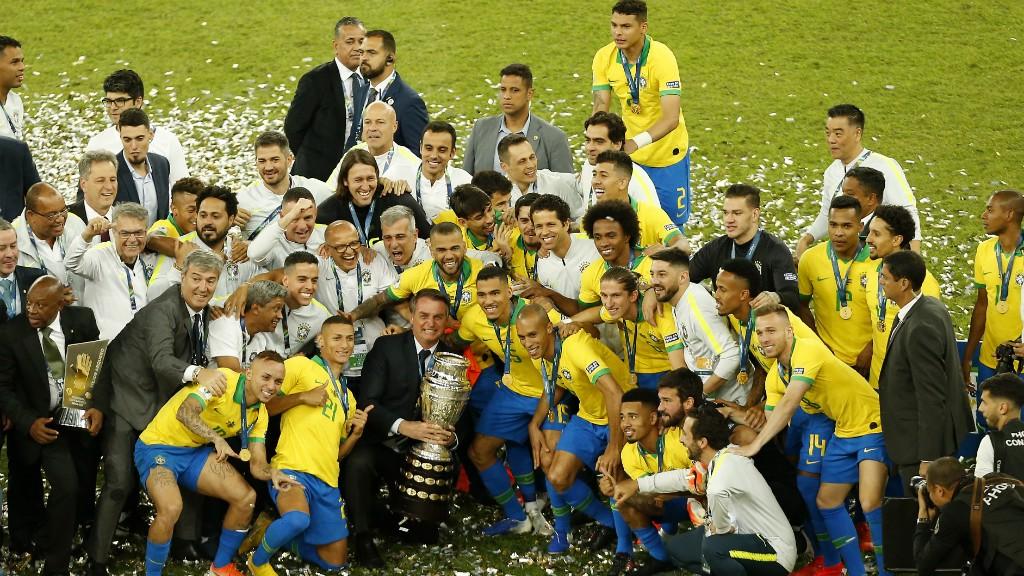 CAMPEÕES: Brazil celebrate winning the 2019 Copa America