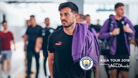 웨스트햄과의 아시아 트로피 투어 첫 경기를 위해 난징에 도착한 다비드 실바