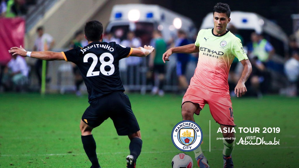 ON THE BALL: Rodri in action against Wolves.