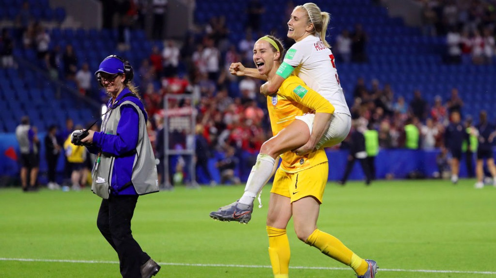 DELIGHT: Karen Bardsley and Steph Houghton celebrate in Le Havre.
