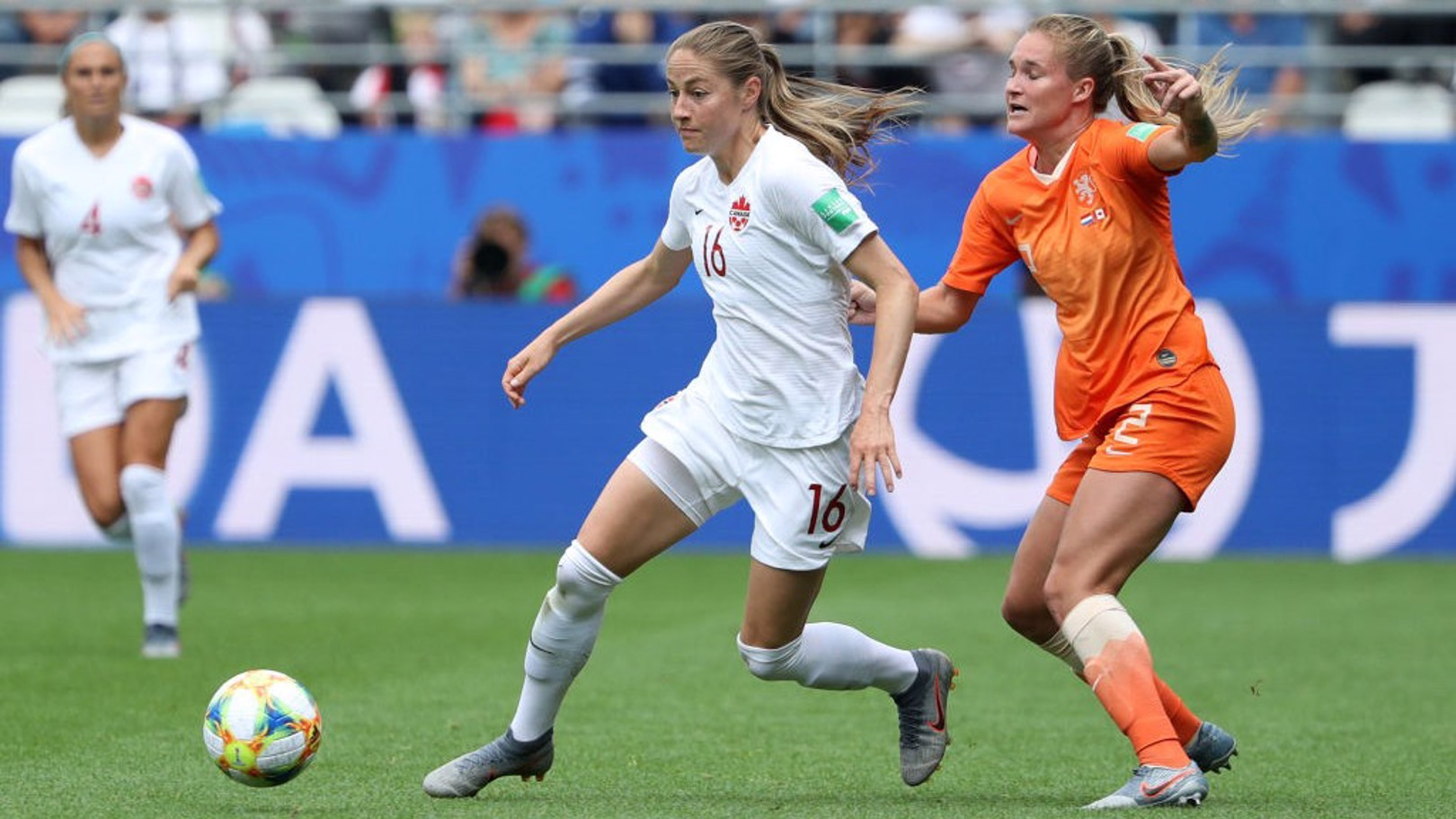 COLLISION: Janine Beckie was fouled by Desiree van Lunteren as Canada took on the Netherlands.