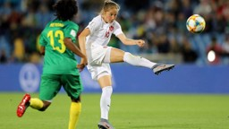 TEKKERS: Janine Beckie lets fly in Canada's opening game against Cameroon.