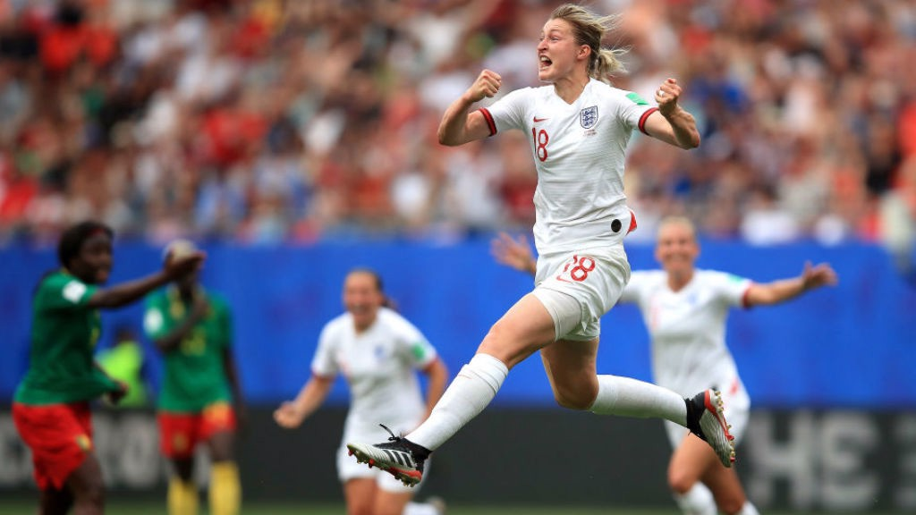 JUMPING FOR JOY: Ellen White celebrates after doubling England's lead against Cameroon