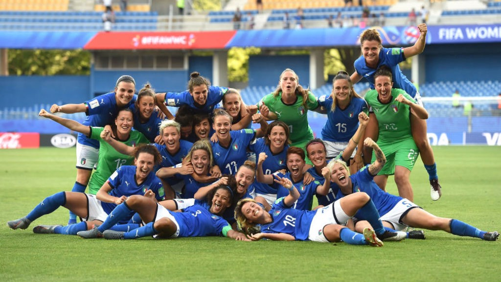 SWEET 16: The Italian squad celebrate after their victory over China