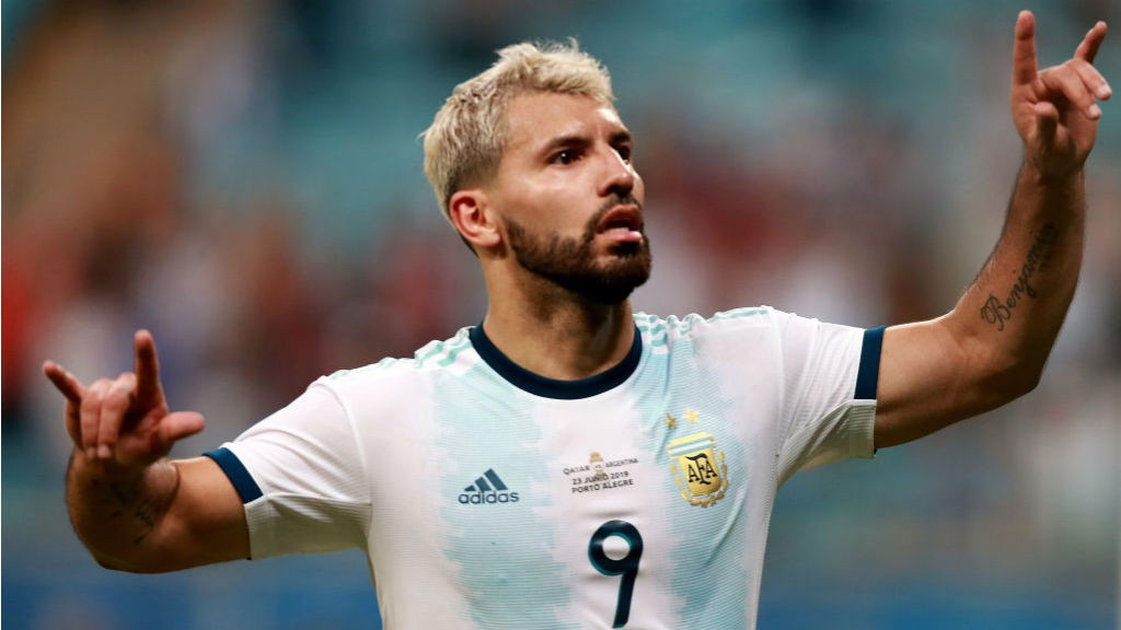 POWER PLAY: Sergio Aguero celebrates after scoring in Argentina's Copa America victory over Qatar