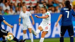 TAKING AIM: Georgia Stanway in action against Japan.