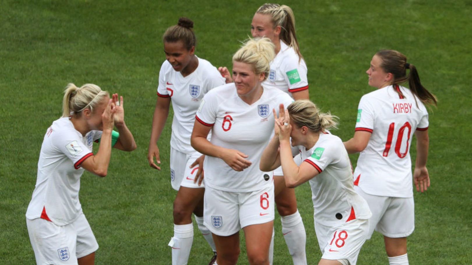 DOUBLE VISION: Steph Houghton (left) copies Ellen White's spectacle celebration after White's strike against Cameroon