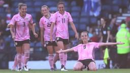 SUPER SCOT: Caroline Weir celebrates scoring in Scotland's final warm-up game.