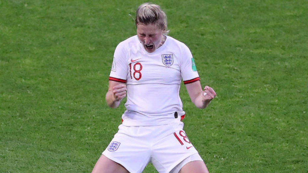 DOUBLE DELIGHT: Ellen White celebrates after making it 2-0 for England