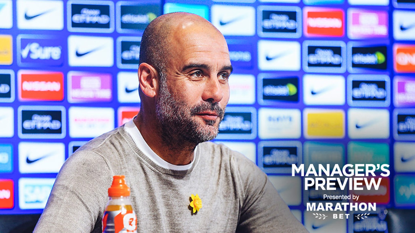 PEP TALK: The boss faced the press ahead of Saturday's game with Watford