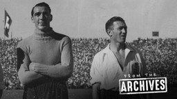 TWO MANCHESTER CITY LEGENDS: Frank Swift and Joe Mercer proudly representing England