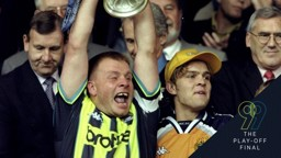 WINNER: Andy Morrison celebrates at Wembley Stadium in 1999.
