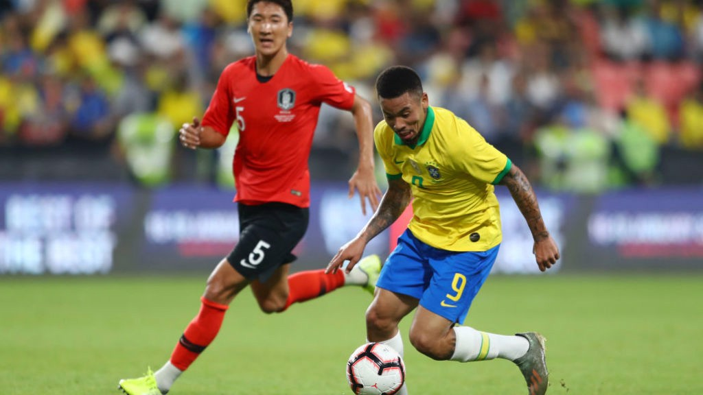 FORWARD MARCH: Gabriel Jesus in the thick of the action for Brazil against South Korea