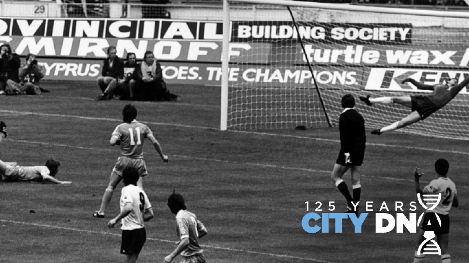 BACK OF THE NET: Tommy Hutchison watches from the ground as his diving header opens the scoring in the 1981 FA Cup final.