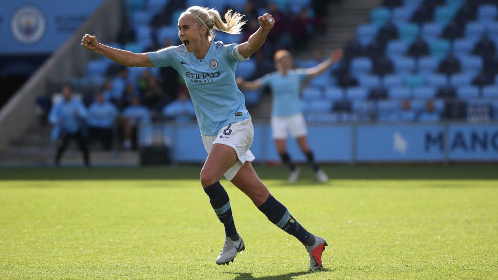 WHEELING AWAY: Steph Houghton celebrates her last might goal against Bristol City.