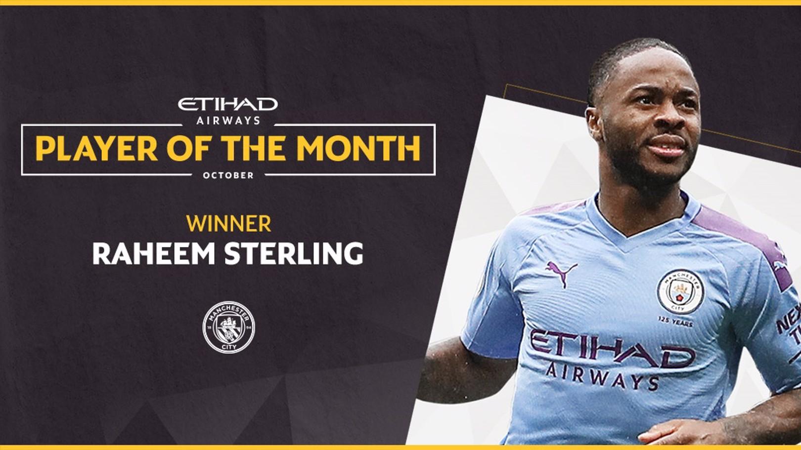Sterling élu joueur Etihad du mois d'octobre