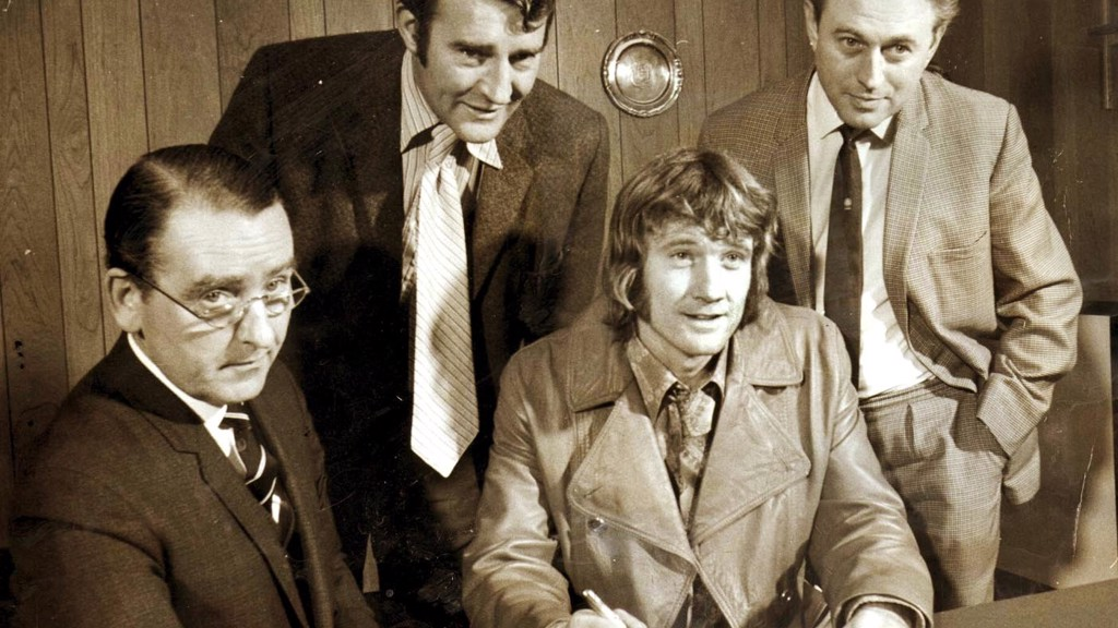 FLASHBACK: Eric Alexander is pictured (far right) alongside former City secretary Walter Griffiths (left) and manager Malcolm Allison as Rodney Marsh signs for City in 1972