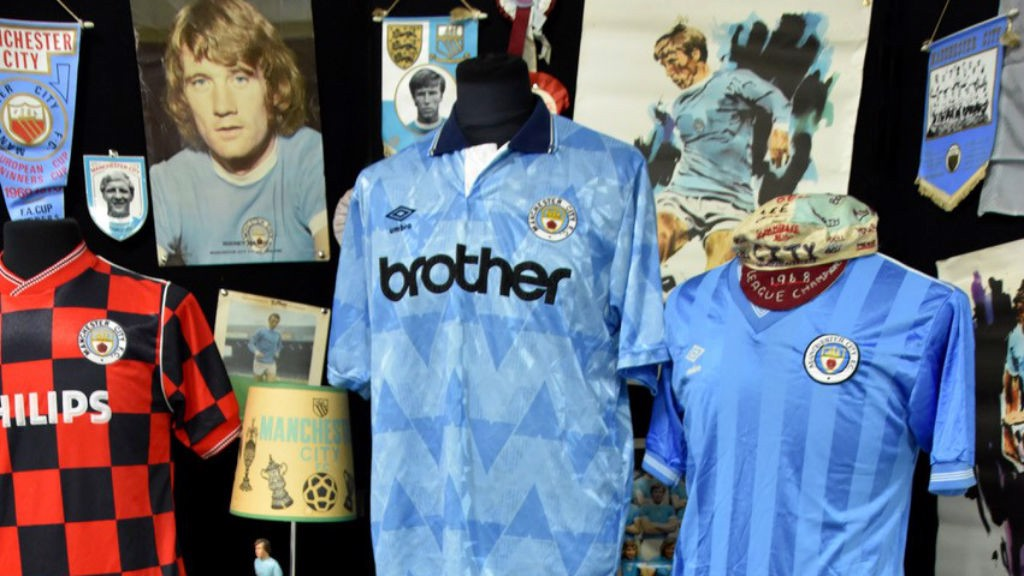 TREASURE TROVE: Vintage City shirts, posters and pennants form just part of Billy's vast personal collection