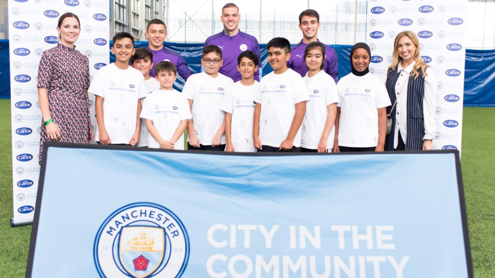 TEAM: Ederson, Eric Garcia and Ian Carlo Poveda joined local school children at a City Lifestyles session.