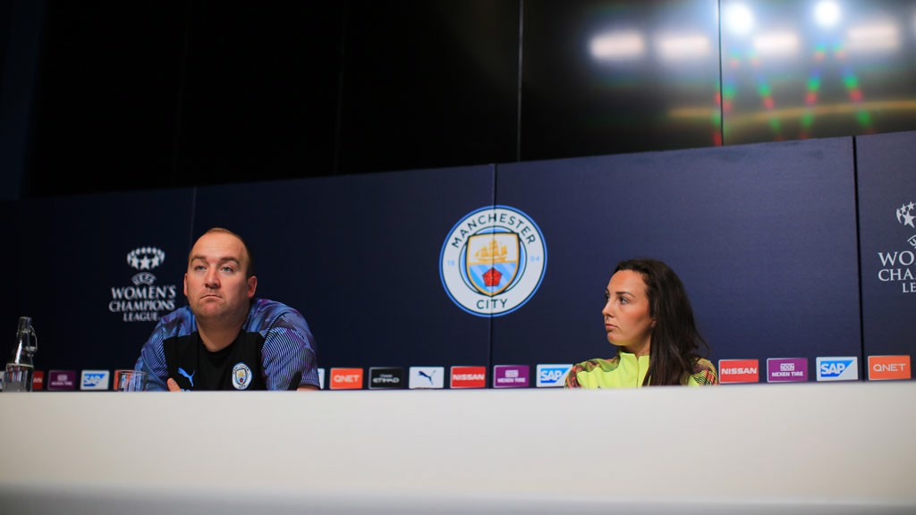 CHAMPIONS LEAGUE: Nick Cushing and Caroline Weir address the media